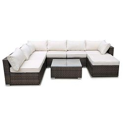 romatlink 8 Pieces Outdoor Rattan Patio Furniture Set, Modern Wicker Conversation Sectional Sofa ...