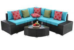 Do4U 6 PCs Outdoor Patio PE Rattan Wicker Sofa Sectional Furniture Set Conversation Set- Seat Cu ...