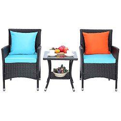 HTTH 3 Pieces Patio Porch Furniture Sets PE Rattan Wicker Chairs Washable Cushion with Tempered  ...