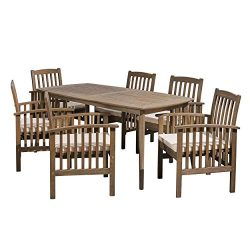 Great Deal Furniture Alma Acacia Patio Dining Set, 6-Seater, 71″ Rectangular Table with St ...
