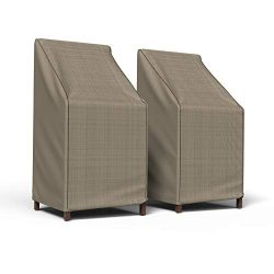 Budge P1A01PM1-2PK English Garden Patio Chair Cover, Stack of Chairs/Barstool Chair (2-Pack), Ta ...
