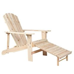 Rimiking Outdoor Foldable Wooden Reclining Chair, Adirondack Chair, Patio Lounge Chair with Pull ...