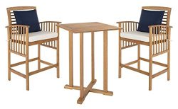 Safavieh PAT7043A Outdoor Collection Pate Teak and White 3 Pc 39.8″ Bar Table Bistro Set,  ...