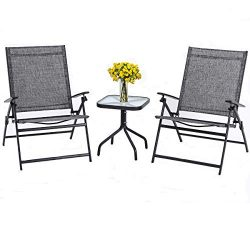 SUNCROWN Outdoor 3-Piece Patio Folding Chair Set Adjustable Reclining Lounge Chair Metal with Gl ...