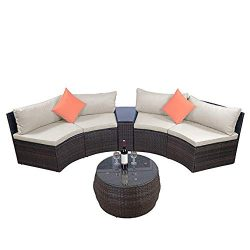 romatlink 6-Piece Patio Furniture Outdoor Half-Moon Sectional Wicker Sofa Set with Two Pillows a ...