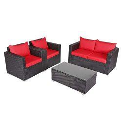 Kinbor New 4 PCs Rattan Patio Outdoor Furniture Set Garden Lawn Sofa Sectional Set Black (Red)