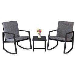 Bonnlo 3 Piece Rocking Wicker Patio Set, Bistro Set Furniture, Patio Conversation Set Rattan Sof ...
