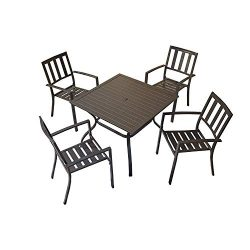 Top Space Patio Dining Set Outdoor Furniture Sets Metal Frame Slat Chairs and Bistro Square Tabl ...
