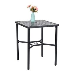 PHI VILLA Patio Bistro Table 36″ Height Square Bar Dining Table Metal with Umbrella Hole f ...