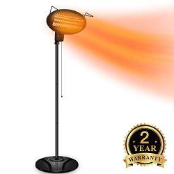 TRUSTECH Electric Outdoor Heater – Halogen Patio Heater, Waterproof Space Heater with 3 Po ...