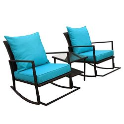 VALITA 3 PCS Outdoor Patio PE Rattan Furniture Rocking Conversation Set End Table with Glass Top ...