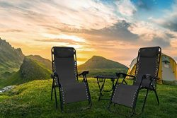 Rxmoto Zero Gravity Chairs Table with Cup Holder Set 3 Pieces Adjustable Folding Lounge Recliner ...