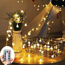 ZOUTOG Battery Operated String Lights, 33ft/10m 100 LED Bulb Warm White Globe String Lights with ...