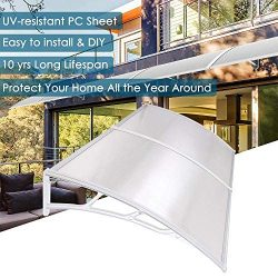 Yescom 79×40″ Outdoor Door Window Awning Canopy 2 Whole Hollow Polycarbonate Sheets P ...