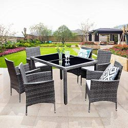 Wisteria Lane Outdoor Wicker Dining Set, 7 Piece Patio Dinning Table Grey Wicker Furniture Seati ...