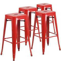"Flash Furniture 4 Pk. 30"" High Backless Red Metal Indoor-Outdoor Barstool with Square Seat"