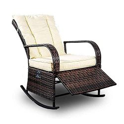 Patio PE Rattan Wicker Rocking Chair Auto Adjustable Patio Sofa Relaxing Lounge Chair Outdoor Fu ...