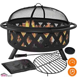 Outdoor Fire Pit Set – Large Bonfire Wood Burning Firepit Bowl – Spark Screen Cover, ...