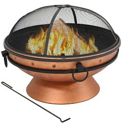 Sunnydaze Large Copper Finish Outdoor Fire Pit Bowl – Round Wood Burning Patio Firebowl wi ...