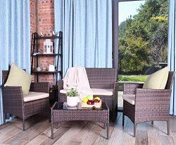 UFI 4PCS Outdoor Patio Furniture Sets Rattan Chair Wicker Set, Use Backyard Porch Garden Poolsid ...