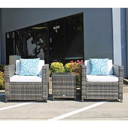 Patiorama Patio Porch Furniture Sets 3 Pieces PE Rattan Grey Wicker Chairs White Cushion with Ta ...