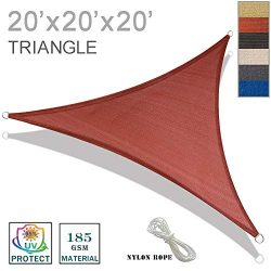 SUNNY GUARD 20′ x 20′ x 20′ Terra Triangle Sun Shade Sail UV Block for Outdoor ...