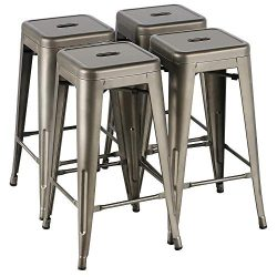 Yaheetech 30 Inches Metal Bar Stools High Backless Stools Bar Height Stools Patio Furniture Indo ...