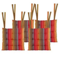 Cotton Craft – Set of 4-17×17 Inches – Red- Multi Salsa Stripe Dining Chair Pad ...