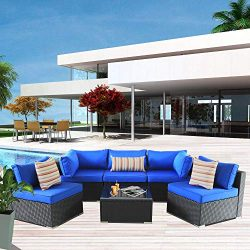 Patio Rattan Furniture 6pcs Outdoor Wicker Sofa Set Black Couch Sectional Set Conversation Cushi ...