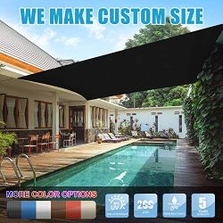 Amgo 8′ x 12′ Black Rectangle Sun Shade Sail Canopy Awning, 95% UV Blockage, Water & ...