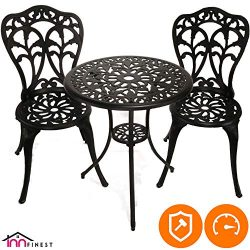 InnFinest 3-Piece Patio Bistro Dining Set – Cast Aluminum Table and Chairs – Outdoor ...