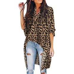Women Leopard Loose Top, Lady V-Neck Irregular Short Sleeve T-Shirt Casual Batwing Sleeve Outdoo ...