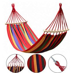Double 2 Person Cotton Fabric Canvas Travel Hammocks 330 lbs Ultralight Camping Hammock Portable ...
