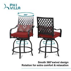 PHI VILLA Patio Bar Stools Set of 2 Outdoor High Patio Dining Swivel Chairs for Bistro Lawn All  ...