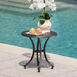 Christopher Knight Home 301752 Louis Outdoor 19″ Bronze Finished Cast Aluminum Side Table
