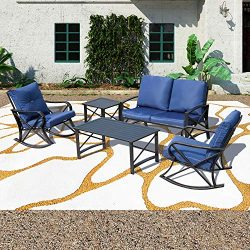 Patio Festival ® Conversation Furniture Set,5 Pcs Cushioned All Weather Metal Outdoor Furniture  ...