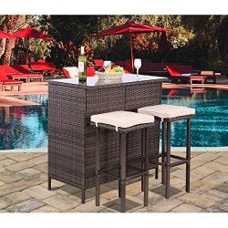 Polar Aurora 3PCS Patio Bar Set with Stools and Glass Top Table Patio Wicker Outdoor Furniture w ...