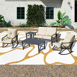Patio Festival 5 PCS Metal Patio Furniture Conversation Set, Outdoor Patio Conversation Sectiona ...
