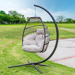 Barton Outdoor Hanging Egg Chair Swing Lounge Chair UV Resistant Soft Deep Cushion Backyard Rela ...