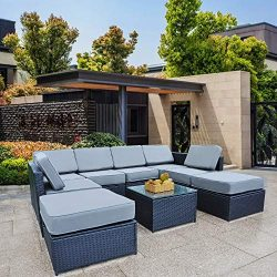 Mcombo Patio Furniture Sectional Wicker Sofa Set All-Weather Outdoor Black Rattan Conversation C ...