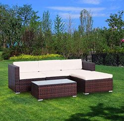 YOUKE 5 PCS Patio PE Rattan Wicker Sofa Sectional Furniture Set,Garden Lawn Pool Backyard Outdoo ...