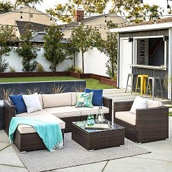 OAKVILLE FURNITURE 61106 6-Piece Made in USA Outdoor Patio Furniture Rattan Sectional Sofa Conve ...