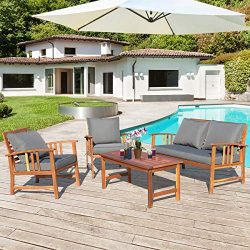Tangkula 4 PCS Wood Patio Furniture Set, Outdoor Seating Chat Set with Gray Cushions & Back  ...