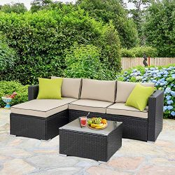 Walsunny Outdoor Rattan Sectional Sofa- Patio Wicker Furniture Set (Khaki with Black Side)