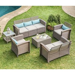 COSIEST 6-Piece Outdoor Furniture Taupe Wicker Conversation Set w Warm Gray Thick Cushions, Sofa ...