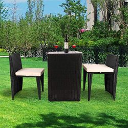 VEIKOU 3 PCS Outdoor Wicker Patio Set, Rattan Convention Bistro Set with Glass Top Table Cushion ...
