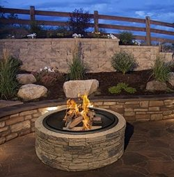 Cast Stone Wood Burning Fire Pit 35″ Diameter Steel Base By Huntington Cove w/ 26″ M ...