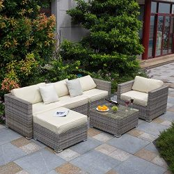 Tribesigns 6 PCS Outdoor Furniture Sectional Sofa Set, Large Wicker Patio Furniture Conversation ...