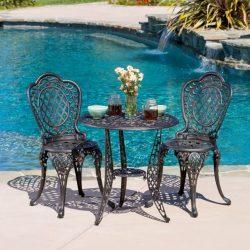 Christopher Knight Home 239281 Modena 3pcs Outdoor Cast Aluminum Bistro Set, Bronze