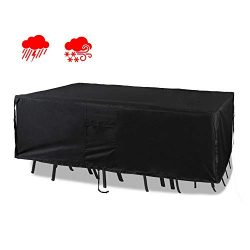 Chutsang Patio Furniture Set Cover Veranda Rectangular Lawn Table Cover, 600D PVC Durable Square ...